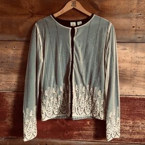 Anthropologie HWR lace and bead overlay cardigan